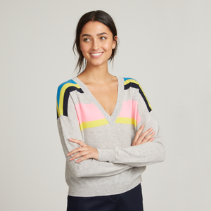 Cropped V-Neck w/ Shoulder Stripes. Lightweight Cashmere Sweater. Autumn Cashmere.