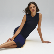Load image into Gallery viewer, Autumn Cashmere. Mesh/Tuck Stitch Muscle Tee Dress in Navy Blue. Women's Summer Dress. Viscose.
