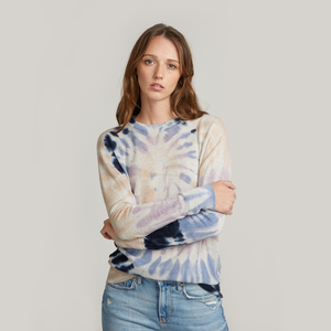 Distressed Edge Pinwheel Tie Dye Crew