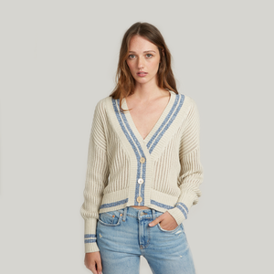 Marled Stripe Boyfriend Cardigan Sweater. Beige Cardigan. Blue Stripe. Italian Cotton. Autumn Cashmere.