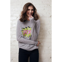 Load image into Gallery viewer, Sequin Pow Pullover | Comic Bubble Pow Shirts | Womens Superhero Shirts | Autumn Cashmere