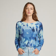 Load image into Gallery viewer, Boxy Floral Crew Sweater. Blue Watercolor Sweater. Lightweight. Autumn Cashmere.