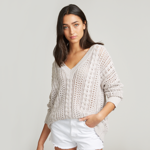Donegal Open Cable Boyfriend V-Neck Sweater. Cotton Pointelle Sweater. Autumn Cashmere.