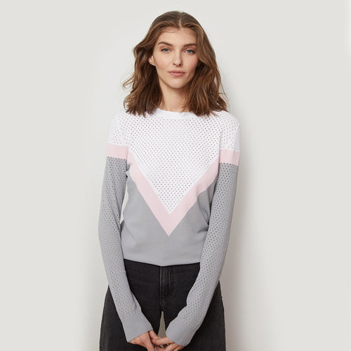 Mesh Color Block Yoke Crew Pullover Sweater | Women's Apparel | Autumn Cashmere