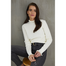 Load image into Gallery viewer, Honeycomb Stitch Mock in Cream. Women's Victorian Blouse Cream White. Italian Viscose Fabric. Autumn Cashmere.
