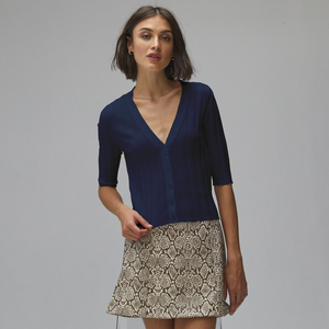 Autumn Cashmere. Ribbed V-Neck Cardigan in Navy Blue. Lightweight Cotton.