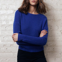 Load image into Gallery viewer, Cropped Shaker Stitch Crew Pullover | Cobalt Blue Sweater |  Women's Knitwear | Autumn Cashmere