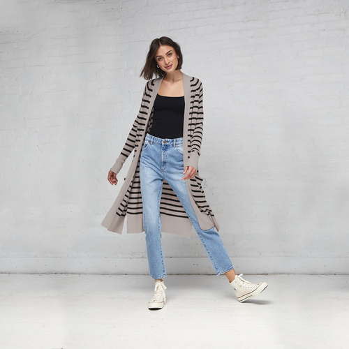 Maritime Stripe Open Cardigan in Birch/Black