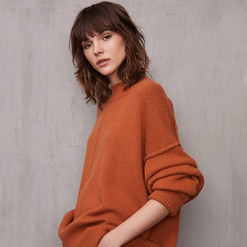 Oversize Crew with Exposed Seams | Women's Orange Sweater Pullover | Autumn Cashmere