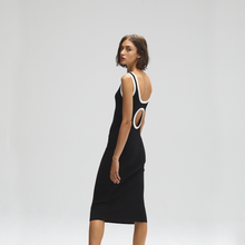 Load image into Gallery viewer, Autumn Cashmere. Rib Midi Tank Dress with Porthole Back.