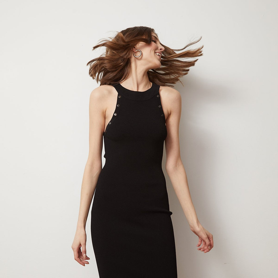 Halter Dress with Snap Detail | Little Black Dress | Women's Apparel & Night out dress | Autumn Cashmere