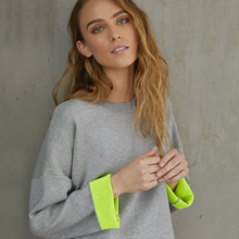 Load image into Gallery viewer, Women's Double Face Neon Crew Sweater. Grey Neon Yellow. Autumn Cashmere.