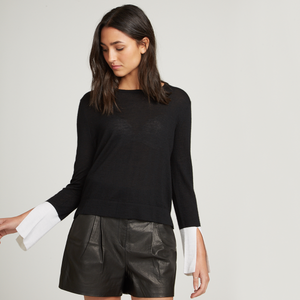 Contrast Split Sleeve Crew. Day to Night Top. Black Top with White Sleeves. Autumn Cashmere.