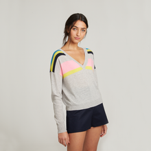 Load image into Gallery viewer, Cropped V-Neck w/ Shoulder Stripes. Lightweight Cashmere Sweater. Autumn Cashmere.