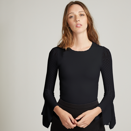 Rib Crew with Pointelle Draped Cuff Sleeves in Black
