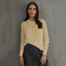 Load image into Gallery viewer, Distressed Scallop Shaker in Yellow Beige Natural. Women's Distressed Cotton Sweater. Autumn Cashmere.