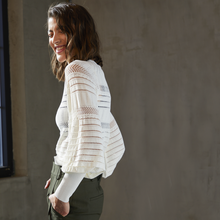 Load image into Gallery viewer, Pointelle Juliette Sleeve Crew in Cream White. Italian Viscose. Autumn Cashmere.
