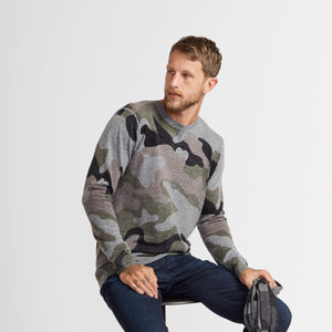 Men's Camo Inked Crew Sweater by Autumn Cashmere. 100% Cashmere.