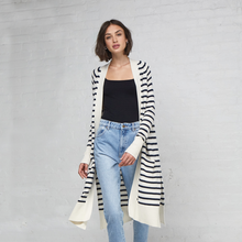 Load image into Gallery viewer, Maritime Stripe Open Cardigan. Lightweight Long Summer Cardigans. Autumn Cashmere.