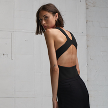 Load image into Gallery viewer, Autumn Cashmere. Open Back Muscle Tee in Black. Women's Athletic Leisure Top. Viscose.