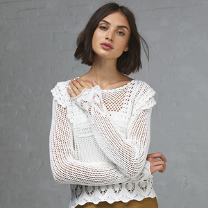 Autumn Cashmere. Pointelle Crochet Bib Front Crew. Women's Bohemian Top Blouse. 100% Cotton.