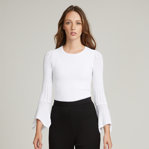 Rib Crew with Pointelle Draped Cuff Sleeves in White