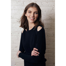 Load image into Gallery viewer, Twist Shoulder Crew Pullover in Black | Cut Hole Sweater | Women's Apparel | Autumn Cashmere
