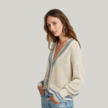 Load image into Gallery viewer, Marled Stripe Boyfriend Cardigan Sweater. Beige Cardigan. Blue Stripe. Italian Cotton. Autumn Cashmere.