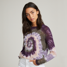 Load image into Gallery viewer, Distressed Edge Pinwheel Tie Dye Crew. Purple Tie Dye Sweater.  Autumn Cashmere.