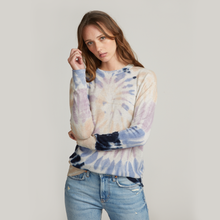 Load image into Gallery viewer, Distressed Edge Pinwheel Tie Dye Crew