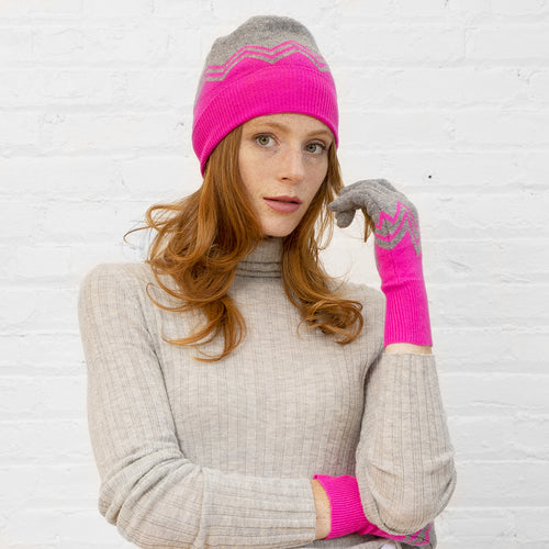 Chevron Cuffed Beanie and Glove Set