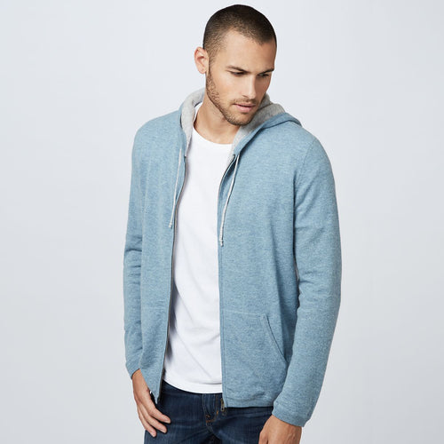 Cashmere Full Zip Up Hoodie | Men's Lightweight Jackets Pullovers Sweaters | Autumn Cashmere