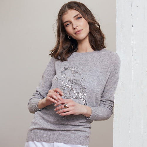 Sequin Dragon Pullover | Women's Sweaters | Autumn Cashmere