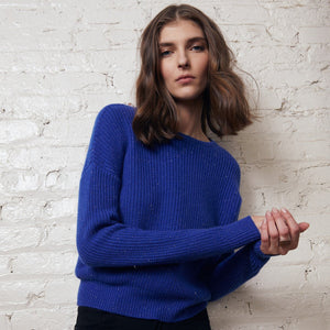 Cropped Shaker Stitch Crew Pullover | Cobalt Blue Sweater |  Women's Knitwear | Autumn Cashmere