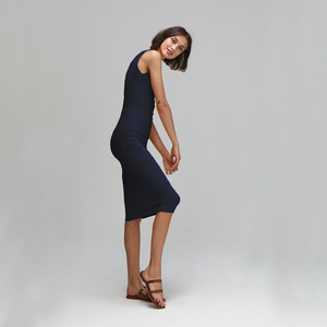 Autumn Cashmere. Mesh/Tuck Stitch Muscle Tee Dress in Navy Blue. Women's Summer Dress. Viscose.