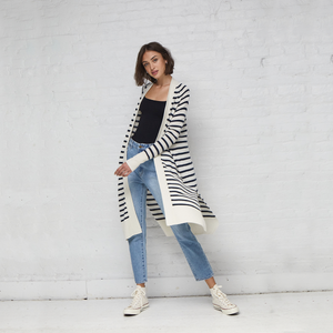 Maritime Stripe Open Cardigan. Lightweight Long Summer Cardigans. Autumn Cashmere.