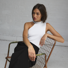Load image into Gallery viewer, Autumn Cashmere. Asymmetric One Shoulder Crew in White. Women's White Top. Viscose Blend.