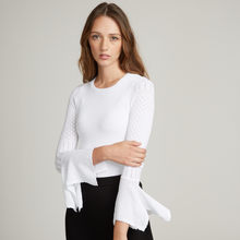 Load image into Gallery viewer, Rib Crew with Pointelle Draped Cuff Sleeves in White