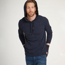 Load image into Gallery viewer, Men's Hoodie Sweater with Leather Strings by Autumn Cashmere. Nightsky Navy Blue. 100% Pure Cashmere.