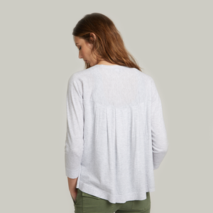 Pleat Back V-Neck Cardigan. Women's Lightweight Cardigan. Lightweight Gray Cardigan. Autumn Cashmere.