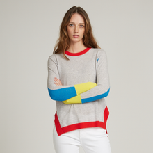 Load image into Gallery viewer, Hi Lo Color Blocked Crew Sweater. Primary Color Block Sweater. Lightweight. Autumn Cashmere.