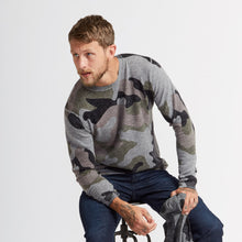 Load image into Gallery viewer, Men's Camo Inked Crew Sweater by Autumn Cashmere. 100% Cashmere.