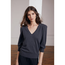 Load image into Gallery viewer, Puff Sleeve V-Neck Pullover in Carbon | Women's Apparel & Sweater | Sparkly | Autumn Cashmere