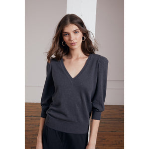 Puff Sleeve V-Neck Pullover in Carbon | Women's Apparel & Sweater | Sparkly | Autumn Cashmere