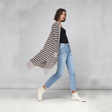 Load image into Gallery viewer, Maritime Stripe Open Cardigan in Birch/Black