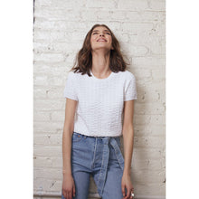 Load image into Gallery viewer, Cropped Seersucker Crew in White | Simple Blouse | White Top | Viscose Blend | Women's Apparel | Autumn Cashmere