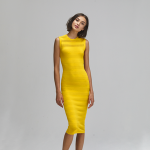 Autumn Cashmere. Mesh/Tuck Stitch Muscle Tee Dress in Marigold. Viscose.
