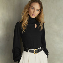 Load image into Gallery viewer, Juliette Sleeve Keyhole Turtleneck