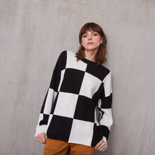 Load image into Gallery viewer, Oversize Checkerboard Crew Pullover