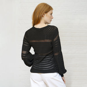 Pointelle Juliette Sleeve Crew in Black